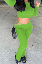 Green Autumn Winter New Long Sleeve Round Neck Dew Waist T-Shirts Flare Pants Solid Color Sets SM9207-3