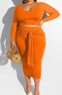 Orange Fashion Big Yards Long Sleeve Round Neck Crop Tops Bandage Hip Skirts Slim Fitting Sets SMD82083-2