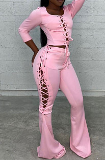 Pink Fashion Club Eyelet Bandage Long Sleeve Dew Waist Tops Mid Waist Flare Pants Solid Color Sets MLL177-3