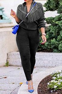 Black Euramerican Fashion Tassel Tops Coat Zipper Pocket Pants Sets CCY9212-2
