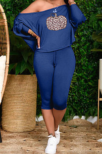 Blue Cute Halloween Print Oblique Shoulder Loose T-Shirts Cropped Pants Big Yards Sets H1731-5