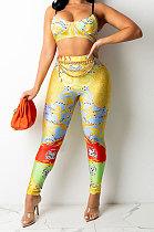 Yellow Sexy Women Fashion Printing Tight Condole Belt Skinny Backless Long Pants Sets CCY9198-1