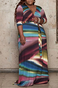 Multicolor Fashion Print Long Sleeve V Collar Swing Fat Women Dress X9326-3