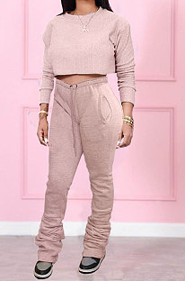 Pink Women Long Sleeve Round Collar Pure Color Crop Ruffle Pants Sets MDF5260-1