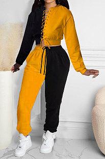 Dark Yellow Women Bandage Eyelet Color Matching Spliced Pants Sets MDF5259-4