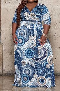 Blue Fashion Print Long Sleeve V Collar Swing Fat Women Dress X9326-2
