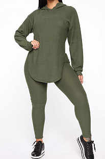 Drak Green Cotton Blend Casual Long Sleeve Slit Hoodie Pencil Pants Slim Fitting Sets HH8942-3