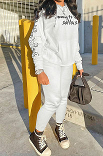 White Wholesale Newest Letter Printing Long Sleeve Loose Hoodie Ankle Banded Pants Sport Sets HT6078-1