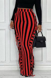 Red Euramerican Women Stripe Printing Tassel Pencil Skirts AL188-2