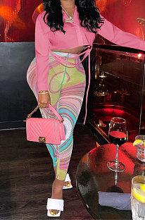 Pink Long Sleeve Shirts Mesh Spaghetti Printing Pants Sets FFE179-1