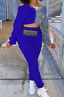 Royal Blue Cotton Blend Casual Spliced Eyelet Bandage Crop Tops High Waist Ankle Banded Pants Sets SM9208-3