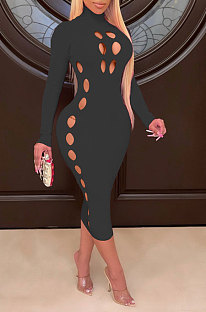 Black Women Hollow Out Solid Color Roudn Collar Mid Waist Long Sleeve Midi Dress JR3658-1