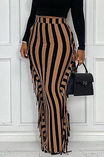 Apricot Euramerican Women Stripe Printing Tassel Pencil Skirts AL188-3