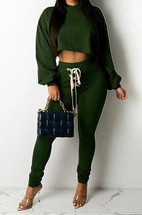 Dark Green Women Sexy Autumn Winter Drawsting Pure Color Crop Tops Pants Sets KZ2143-2