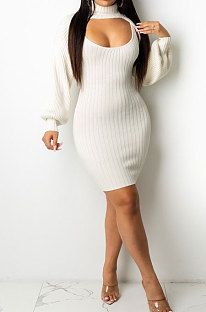 White Sexy Simple Pure Color Lantern Sleeve Half A Shawl+Bodycon Hip Dress Two-Piece TL6617-1