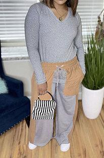 Grey Autumn Winter Long Sleeve V Neck Tops Contarst Color Bandage Wide Leg Pants Casual Sets L0362-2