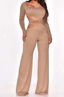 Khaki Sexy Cotton Blend Pure Color Long Sleeve Hollow Out Wide Leg Jumpsuits QZ6128-5