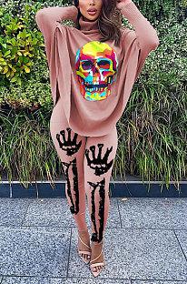 Women Euramerican Fashion Printing Skulls Batwing Sleeve Split Tops Long Pants Sets SDE1084