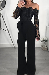 Black Bodycon Long Sleeve Embroidered Lace Patchwork Strapless Wide Leg Jumpsuits QZ3227-3