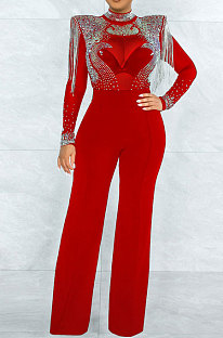 Red Women Fashion Sexy Bodycon High Collar Perspectivity Bling Bling Tassel Bodycon Jumpsuits CCY9232B-2
