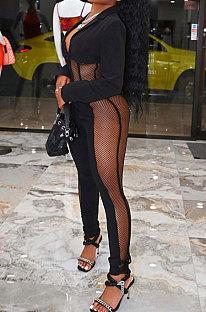 Black Euramerican Women Sexy Mesh Spaghetti Spliced Pure Color Pants Sets FFE184