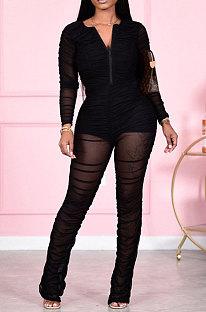 Black Women Fashion Sexy Mesh Spaghetti Long Sleeve Zipper Ruffle Bodycon Jumpsuits FFE186-3