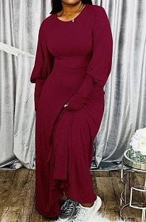 Wine Red Big Yards Cotton Blend Loose Long Sleeve Round Collar Collect Waist Maxi Dress BDF8002-1