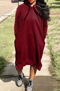 Wine Red Cotton Blend Casual Pure Color Long Sleeve Loose Hooded Dress H1726-1