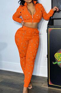 Orange Women Autumn Hole Zipper Tops Coat Pure Color Mid Waist Pants Sets Q964-2