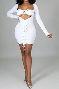 White Women Long Sleeve Autumn Ribber Eyelet Tied Solid Color Bodycon Mini Dress Q963-1