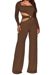 Brow Sexy Cotton Blend Pure Color Long Sleeve Hollow Out Wide Leg Jumpsuits QZ6128-1