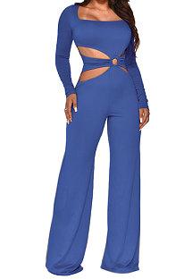 Blue Sexy Cotton Blend Pure Color Long Sleeve Hollow Out Wide Leg Jumpsuits QZ6128-4