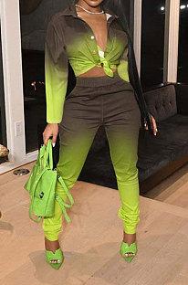 Green Women Fashion Gradient Long Sleeve Turn-DownCollar Single-Breasted Pants Sets FFE185-2