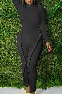 Black Simple Wholesale Long Sleeve High Neck Bodycon Tops Pencil Pants Slim Fitting Sets L0363-2