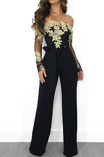 Black Gold Side Bodycon Long Sleeve Embroidered Lace Patchwork Strapless Wide Leg Jumpsuits QZ3227-2