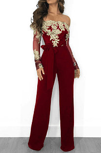 Wine Red Bodycon Long Sleeve Embroidered Lace Patchwork Strapless Wide Leg Jumpsuits QZ3227-1