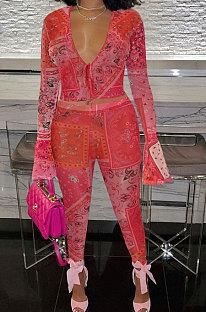 Red Euramerican Women Fashion Sexy Mesh Spaghetti Printing Horn Sleeve Pants Sets FFE180-1