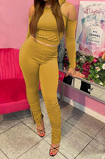 Yellow Casual Cotton Blend Off Shoulder Long Sleeve Back Bandage Hoodie High Waist Slit Ruffle Pants Solid Color Sets WM21907-5