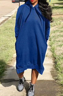 Blue Cotton Blend Casual Pure Color Long Sleeve Loose Hooded Dress H1726-5