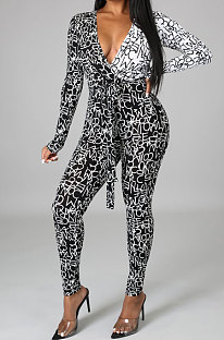 Black White Wholesale Contarstcolor Spliced Letter Printing Long Sleeve V Collar Beltband Bodycon Jumpsuits TL6611-2