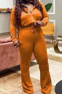 Orange Big Yards Autumn Winter Long Sleeve Zip Front Tops High Waist Flare Pants Fat Women Sport Sets WM21821-1