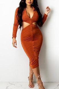 Orange Fashion Velvet Elastic Long Sleeve Deep V Neck Hollow Out Wrap Dress QZ7004-3