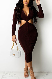 Drak Purple Fashion Velvet Elastic Long Sleeve Deep V Neck Hollow Out Wrap Dress QZ7004-4