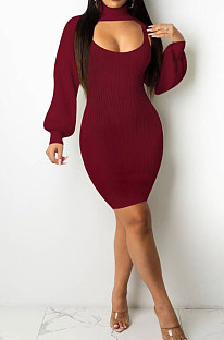 Wine Red Sexy Simple Pure Color Lantern Sleeve Half A Shawl+Bodycon Hip Dress Two-Piece TL6617-2