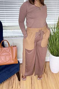 Camel Autumn Winter Long Sleeve V Neck Tops Contarst Color Bandage Wide Leg Pants Casual Sets L0362-1