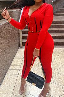 Red Sports Whoelsale Strip Line Spliced Long Sleeve Zip Hoodie Pencil Pants Slim Fitting Sets WM21818-3