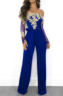 Blue Gold Side Bodycon Long Sleeve Embroidered Lace Patchwork Strapless Wide Leg Jumpsuits QZ3227-4