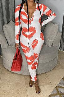 White Women Cute Lips Sexy Long Sleeve Zipper Bodycon Jumpsuits MOL175-2