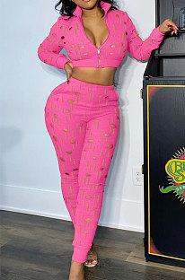 Rose Pink Women Autumn Hole Zipper Tops Coat Pure Color Mid Waist Pants Sets Q964-3