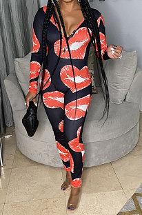 Black Women Cute Lips Sexy Long Sleeve Zipper Bodycon Jumpsuits MOL175-1